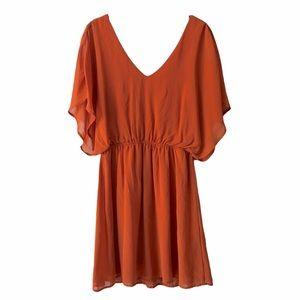 EVERLY Orange Chiffon Open Back Dress Large